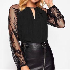 Tops - Lace Raglan Sleeve Keyhole Blouse